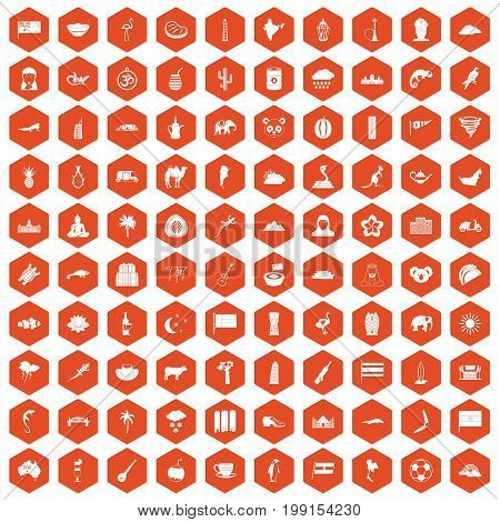 100 exotic animals icons set in orange hexagon isolated vector illustration