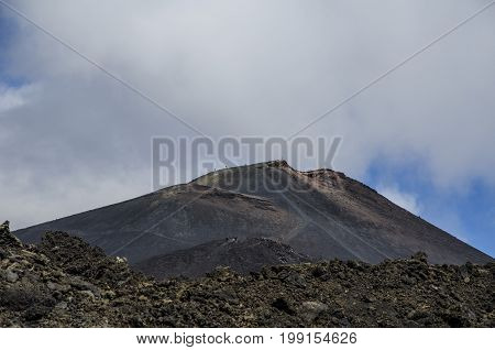 View in the vicinity of the crater of the volcano etna sicily italy