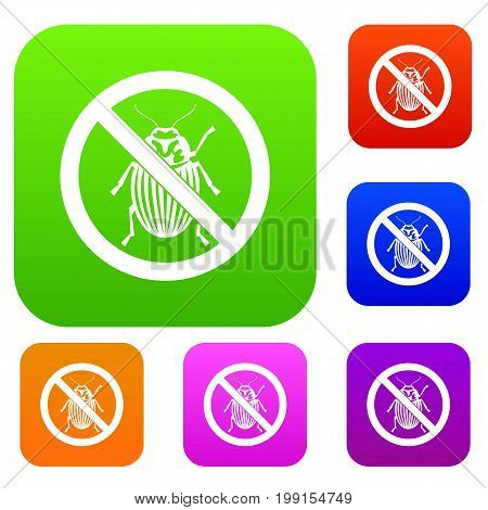 No potato beetle sign set icon in different colors isolated vector illustration. Premium collection