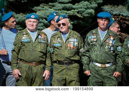 Yoshkar-Ola Russia - Augugst 2 2017Veterans of the Airborne Forces of Russia during the celebration of the day of the Russian Air Force in the central park of Yoshkar-Ola Russia