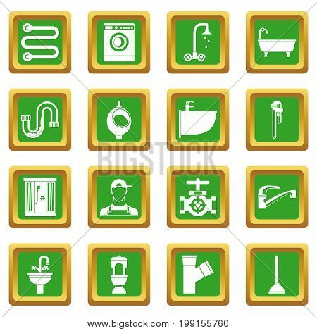 Plumbing icons set in green color isolated vector illustration for web and any design
