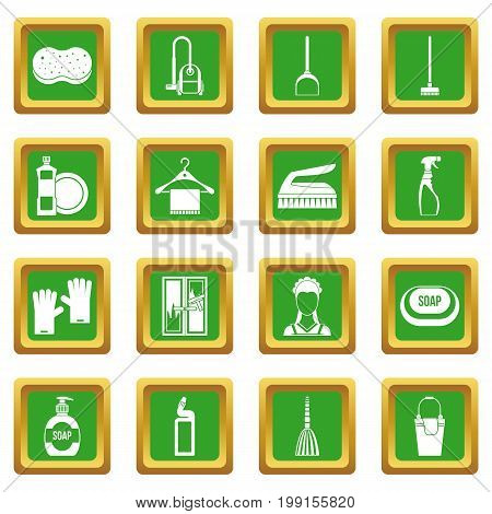 House cleaning icons set in green color isolated vector illustration for web and any design