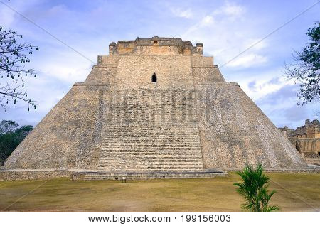 Front view of the House of the Magician Pyramid in Uxmal Mexico
