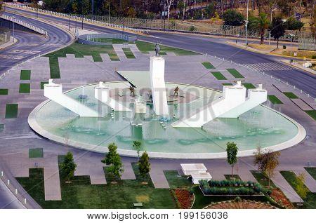 PUEBLA MEXICO - MARCH 2: View of the monument of Ignacio Zaragoza Seguin a general in the Mexican army in Puebla Mexico on March 2 2017
