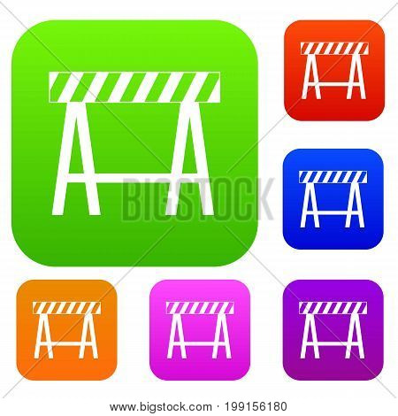 Traffic barrier set icon in different colors isolated vector illustration. Premium collection