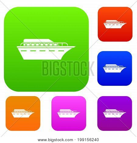 Powerboat set icon in different colors isolated vector illustration. Premium collection