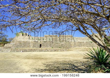 Front of platform at the ruins of Monte Alban in Oaxaca Mexico