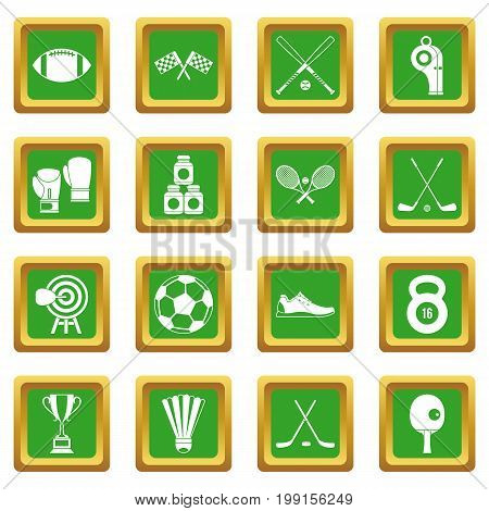 Sport equipment icons set in green color isolated vector illustration for web and any design