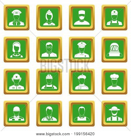 Professions icons set in green color isolated vector illustration for web and any design