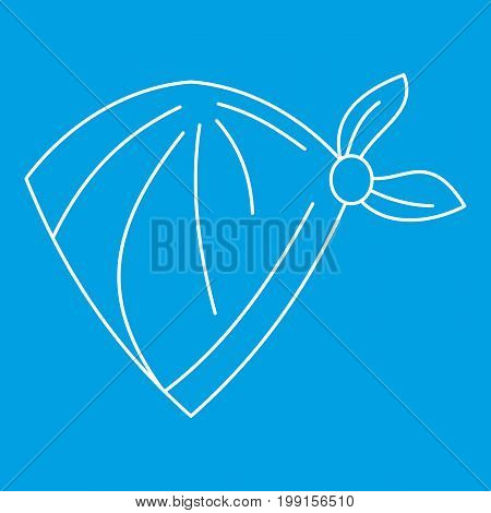 Cowboy neckerchief icon blue outline style isolated vector illustration. Thin line sign