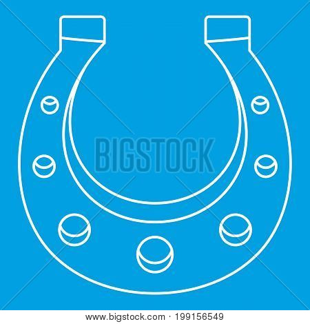 Horseshoe icon blue outline style isolated vector illustration. Thin line sign