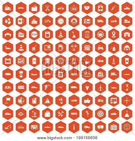 100 gas station icons set in orange hexagon isolated vector illustration