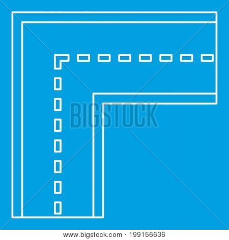 Turning road icon blue outline style isolated vector illustration. Thin line sign
