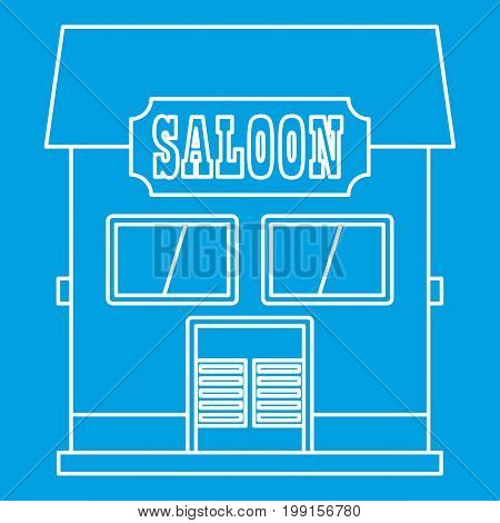 Western saloon icon blue outline style isolated vector illustration. Thin line sign