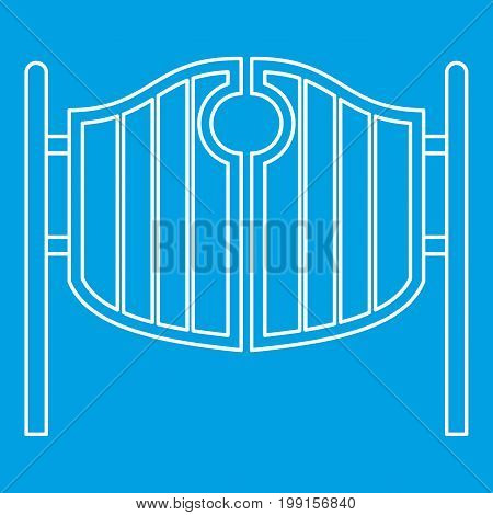 Vintage western swinging saloon doors icon blue outline style isolated vector illustration. Thin line sign