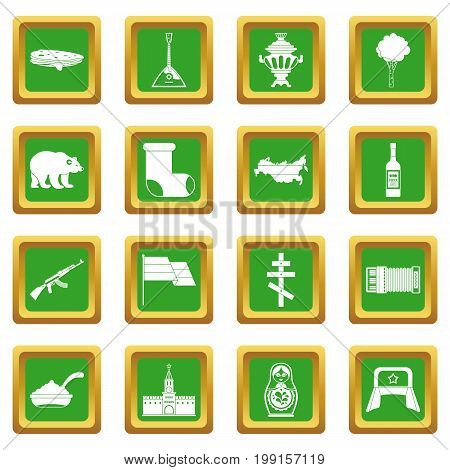 Russia icons set in green color isolated vector illustration for web and any design