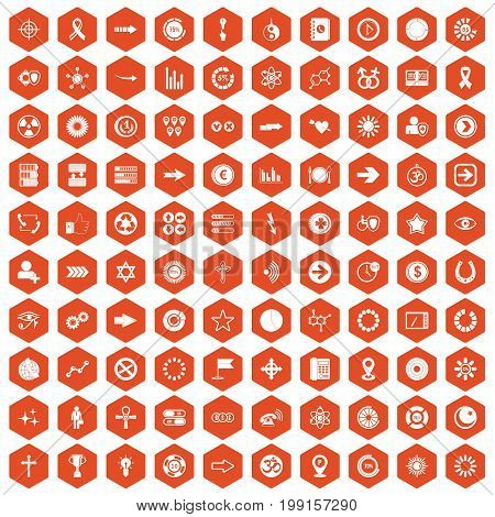 100 graphic elements icons set in orange hexagon isolated vector illustration