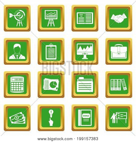 Business plan icons set in green color isolated vector illustration for web and any design