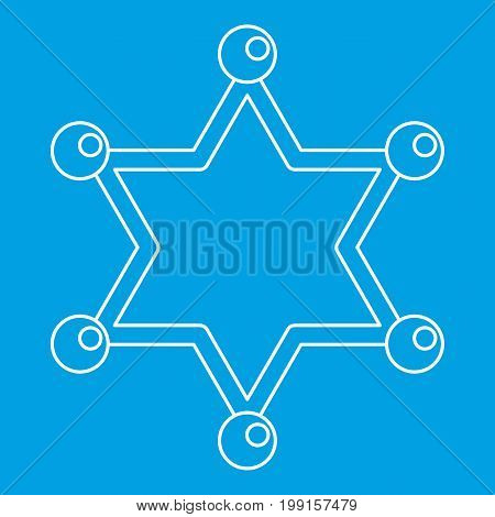 Sheriff star icon blue outline style isolated vector illustration. Thin line sign