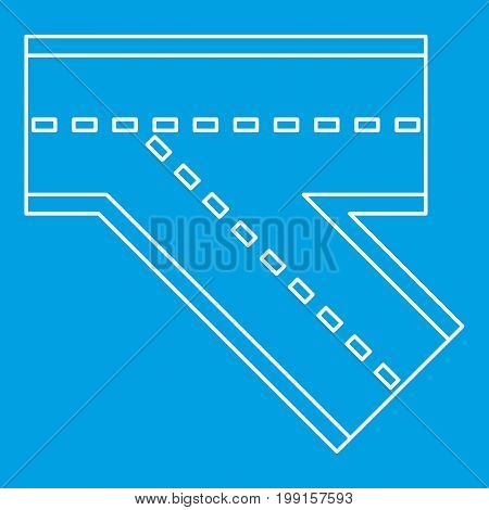 Turn road icon blue outline style isolated vector illustration. Thin line sign
