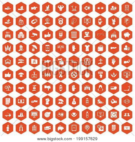 100 hand icons set in orange hexagon isolated vector illustration