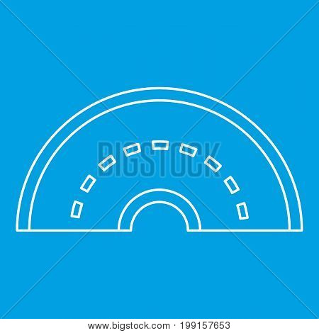 Round turning road icon blue outline style isolated vector illustration. Thin line sign