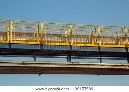 handrail industrial yellow fence metallic pipe rack