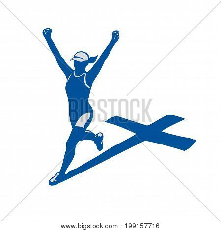Illustrations of a female marathon triathlete runner running winning finishing race with cross as shadow behind on isolated background done in retro style.