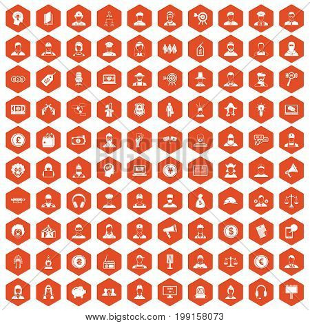 100 headhunter icons set in orange hexagon isolated vector illustration