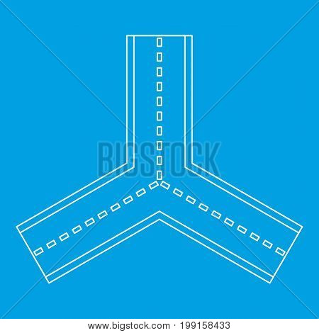 Forked road icon blue outline style isolated vector illustration. Thin line sign