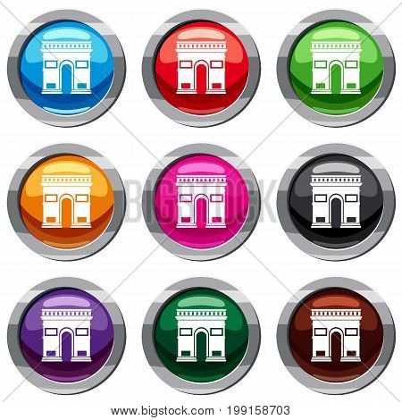 Triumphal arch set icon isolated on white. 9 icon collection vector illustration