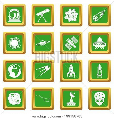 Space icons set in green color isolated vector illustration for web and any design
