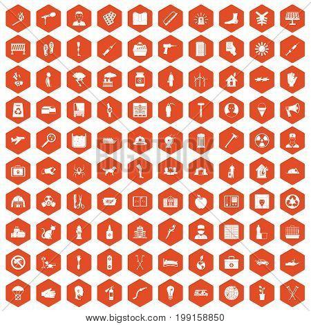 100 help icons set in orange hexagon isolated vector illustration