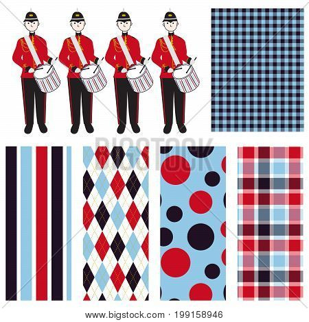 Drum Corps Illustration - Vector illustration with coordinating gingham, stripe, argyle, polka dot and plaid.