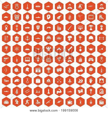 100 hero icons set in orange hexagon isolated vector illustration