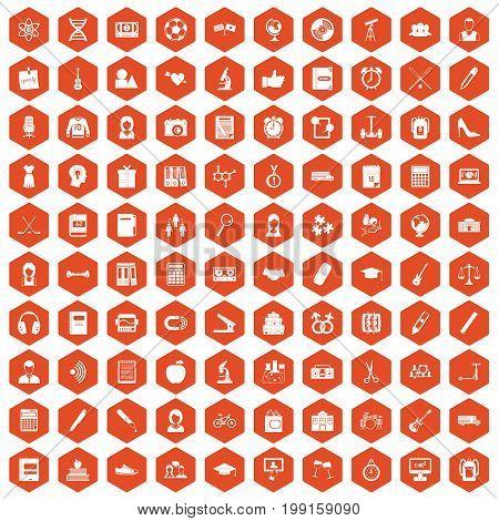 100 hi-school icons set in orange hexagon isolated vector illustration
