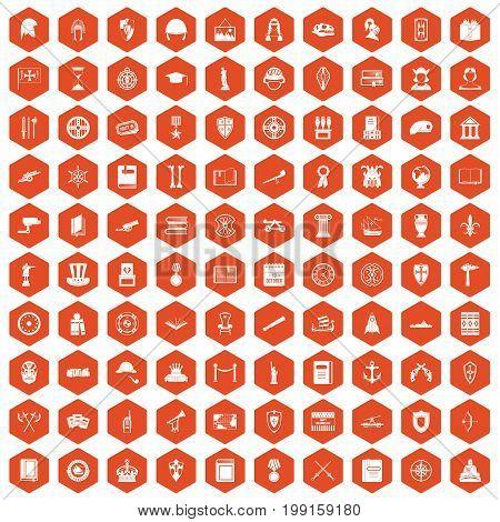 100 history icons set in orange hexagon isolated vector illustration