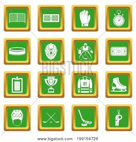 Hockey icons set in green color isolated vector illustration for web and any design