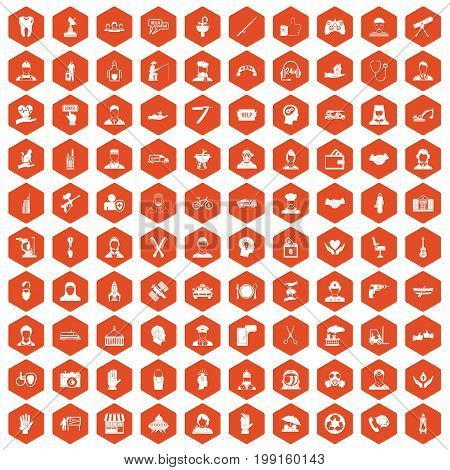 100 human resources icons set in orange hexagon isolated vector illustration