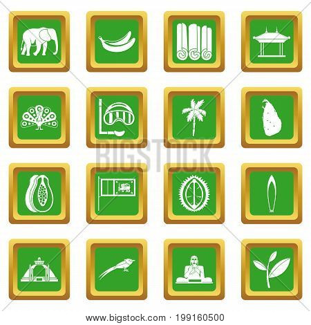 Sri Lanka travel icons set in green color isolated vector illustration for web and any design