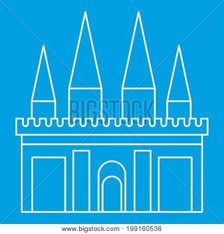 Kingdom palace icon blue outline style isolated vector illustration. Thin line sign