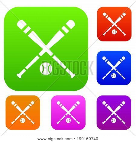 Baseball bat and ball set icon in different colors isolated vector illustration. Premium collection