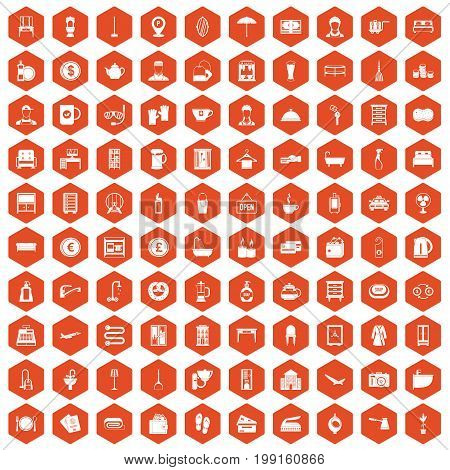 100 inn icons set in orange hexagon isolated vector illustration