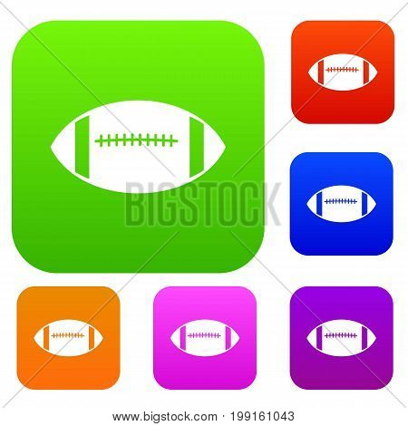 Rugby ball set icon in different colors isolated vector illustration. Premium collection