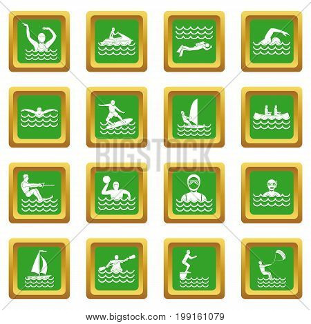 Water sport icons set in green color isolated vector illustration for web and any design