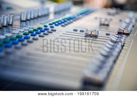 Sound music mixer audio control panel. Sound mixer control electronic device.