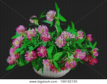 Illustration. Cross stitch. Still life of bright wild flowers. Bouquet of meadow flowers in pots. Rustic style.