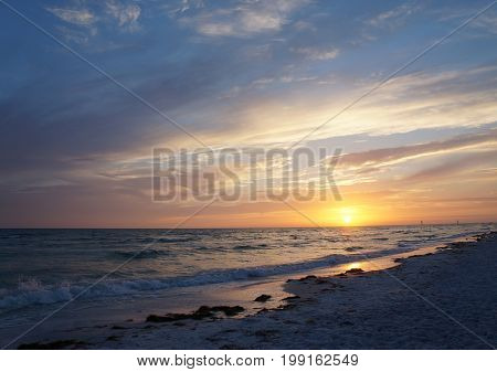 Beautiful sunset at Honeymoon Island State Park, Florida