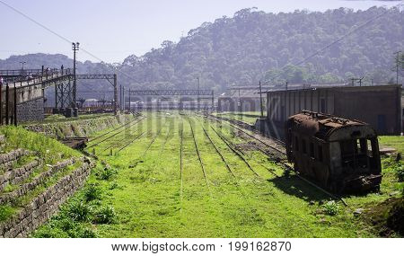 View of an abandoned and forgotten time train station