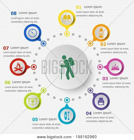Infographic template with trekking icons, stock vector